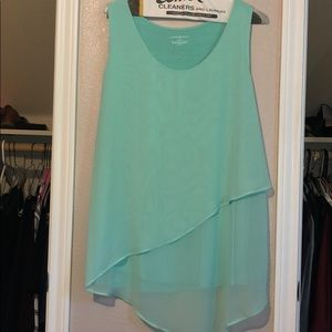 Tank top with gorgeous a line sheet overlay
